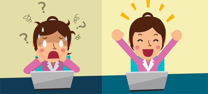 Een getekende vrouw eerst in de stress van nieuwsbrief en daarna blij van gelukt