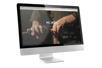 Voorbeeld van de homepage van Manda Productions